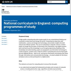 National curriculum in England: computing programmes of study
