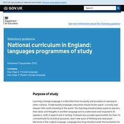 National curriculum in England: languages progammes of study