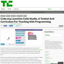 Code.org Launches Code Studio, A Toolset And Curriculum For Teaching Kids Programming