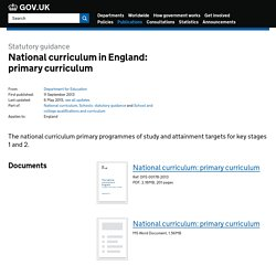 National curriculum in England: primary curriculum