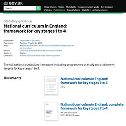 National curriculum in England: framework for key stages 1 to 4 - Publications