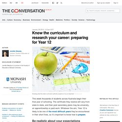 Know the curriculum and research your career: preparing for Year 12