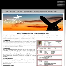 Curriculum Vitae and Resume Example for Pilots-Latest Pilot Jobs