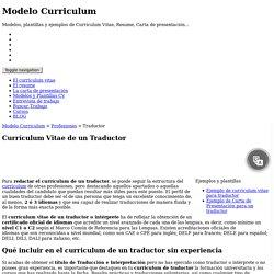 Curriculum Vitae de un Traductor
