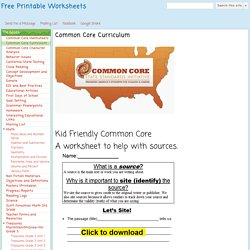 Common Core Curriculum - Free Printable Worksheets