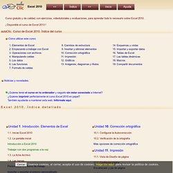 Curso de Excel 2010. aulaClic. Índice del curso de Excel 2010