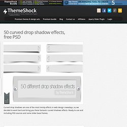 50 curved drop shadow effects, free PSD