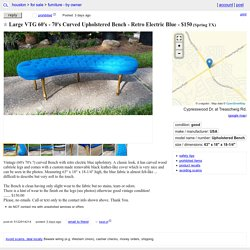 Large VTG 60's - 70's Curved Upholstered Bench - Retro Electric Blue