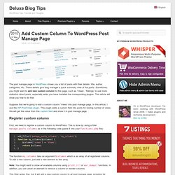 Add Custom Column To WordPress Post Manage Page - Deluxe Blog Ti