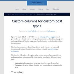 Custom columns for custom post types