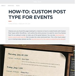 How-to: Custom Post Type for Events using WordPress