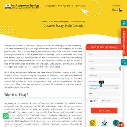 Custom Essay Help in Canada by Experienced Writers