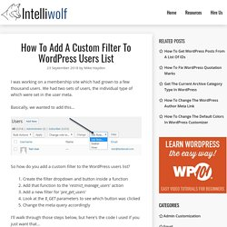 How To Add A Custom Filter To WordPress Users List
