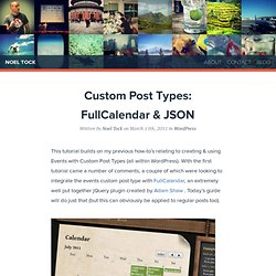 Custom Post Types: FullCalendar & JSON for WordPress