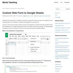 Custom Web Form to Google Sheets – Bionic Teaching