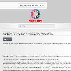 Custom Patches as a form of identification