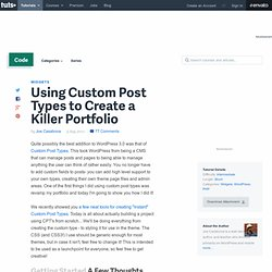 Using Custom Post Types to Create a Killer Portfolio
