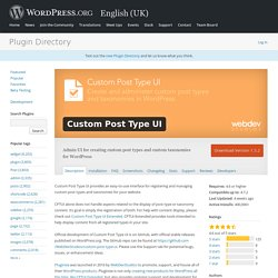 Custom Post Type UI — WordPress Plugins