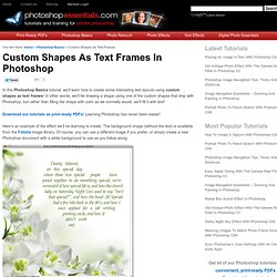 Photoshop Custom Shapes As Text Frames Tutorial