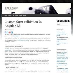 Custom form validation in Angular JS