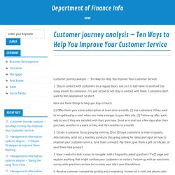 Customer journey analysis – Ten Ways to Help You Improve Your Customer Service – Department of Finance Info