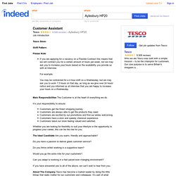 Customer Assistant job - Tesco - Aylesbury HP20