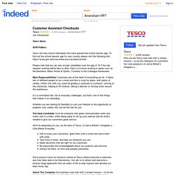 Customer Assistant Checkouts job - Tesco - Amersham HP7