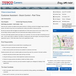 Customer Assistant - Stock Control - Part Time