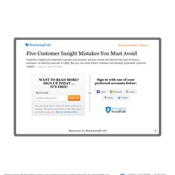 Five Customer Insight Mistakes to Avoid