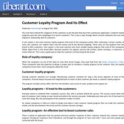 Customer Loyalty Program And Its Effect