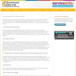 TOP TEN Customer Service Mistakes - Customer Service Training Experts Customer Service Training Experts