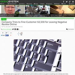 Company Tries to Fine Customer $3,500 for Leaving Negative Review Online
