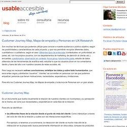 Customer Journey Map, Mapa de empatía y Personas en UX Research