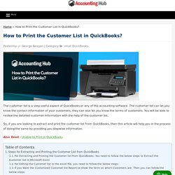 How to Print Customer List in QuickBooks - Solved 1844-313-4856
