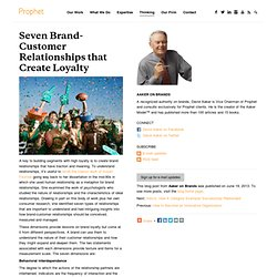 Seven Brand-Customer Relationships that Create Loyalty