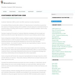 Customer Retention CRM -