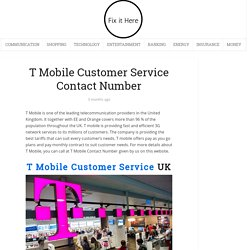 T Mobile Customer Service Contact Number