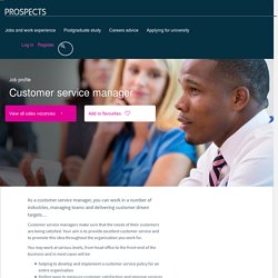 Customer service manager job profile