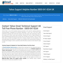 UK Yahoo Support Phone Number 0800 078 6002