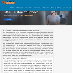 Phone Number for Online MSN Customer Service Support