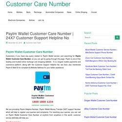 Paytm Wallet Customer Care Number