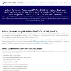 YahooCustomer Care Number UK