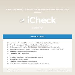 Customize checkboxes and radio buttons with iCheck (jQuery and Zepto) plugin