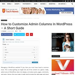 How to Customize Admin Columns In WordPress – A Short Guide