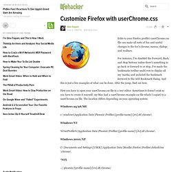Firefox: Customize Firefox with userChrome.css