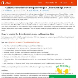 Customize default search engine settings in Chromium Edge browser