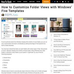 howtogeek - How to Customize Folder Views with Windows (Five Templates)