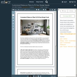 Customized Makeover Plans to Fit Your Design Needs