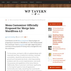 Menu Customizer Officially Proposed for Merge Into WordPress 4.3