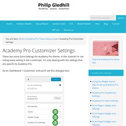 Academy Pro Customizer Settings - Philip Gledhill
